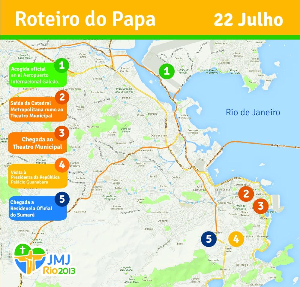 Itinerario de llegada del Papa Francisco a Río de Janeiro